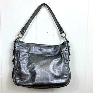 Coach Metallic Gray Leather Zoe Hobo Bag